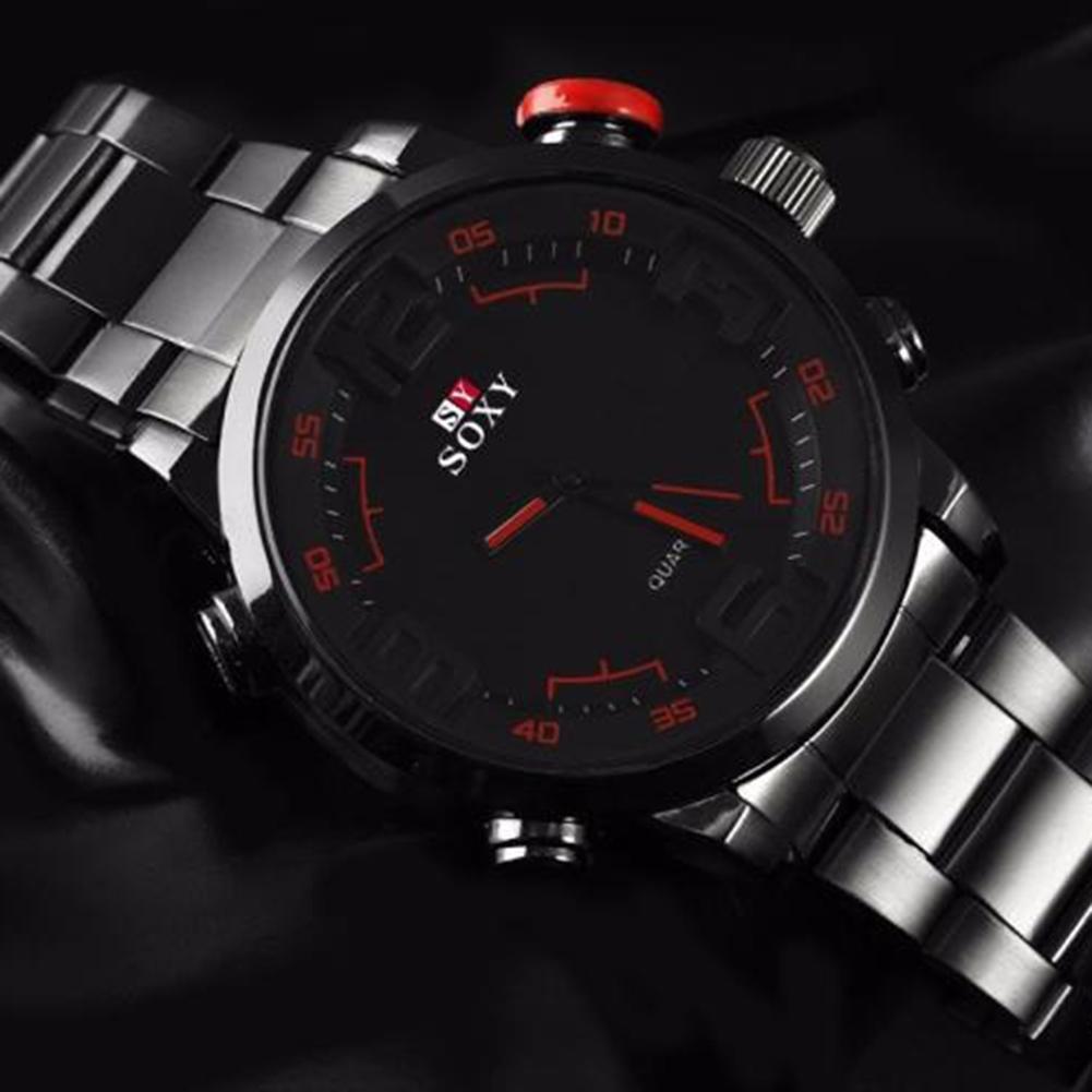 Men's Luxury Black Stainless Steel Band Army Sport Analog Quartz Wrist Watch Erkek Kol Saati мужские часы Relogio Feminino
