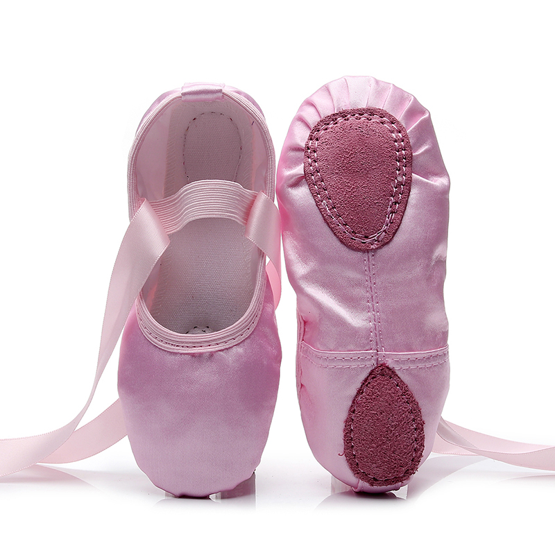 Children Kids Point Beginner Practicing Dancing Shoes Soft Sole Satin Ballet For Girls  Slipper Dance Ballerina Shoe