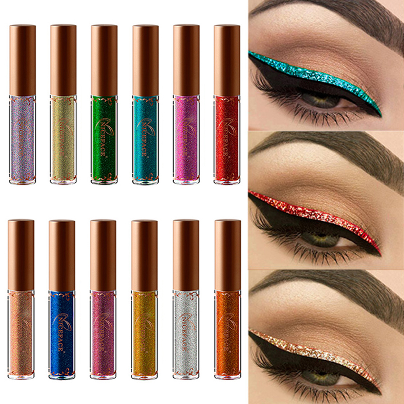 12 Colors Glitter Eyeliner Pearled Metallic Liquid Eye Liner Diamond Shimmer Shining Tattoo Glitter Eyeliner Waterproof TSLM2