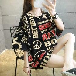 #0631 preto azul laranja carta impresso t camisa harajuku streetwear hip hop t camisa para mulheres algodão solto t camisas femininas verão