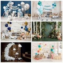 Laeacco anniversaire décors ballons fleurs arbres troyens ours bébé douche Portrait photographie arrière plans pour Studio Photo