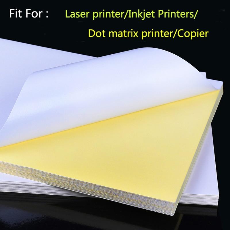 50 hojas A4, impresora de inyección láser, copiadora, papel artesanal, etiqueta autoadhesiva blanca, hoja de papel de superficie mate