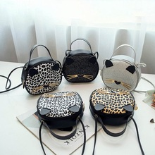 Cute Cat Crossbody Bags Leopard Leather Shoulder Purse Women Handbag Fashion Vintage Bucket Bag Casual Cellphone Pouch Bolsos