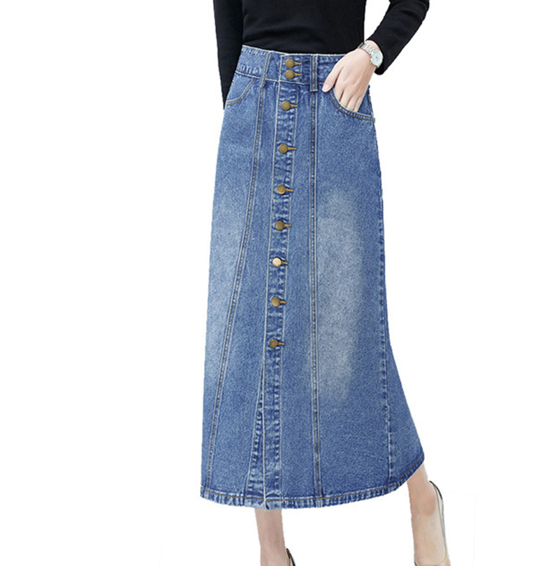 Long Denim Skirt High Waist Midi Skirts Women Single Button Pockets Blue Jean Skirt Style Saia Jeans