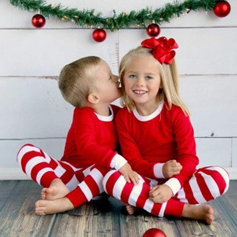 Christmas Red Green Striped Long Sleeve Nightwear Autumn Winter Baby Kids Boy Girl   Pajamas     Set   Sleepwear Causal Outfit