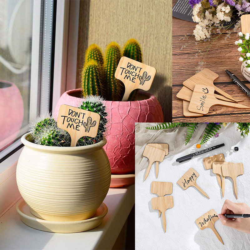 3 size T-Type Bamboo Plant Labels Eco-Friendly Wooden Plant Sign Tags Garden Markers for Seed Potted Herbs Flowers Tools  BL02 2