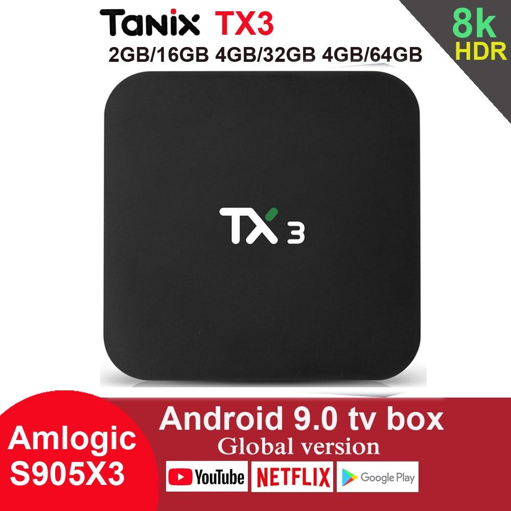 Tanix TX3 Android 9.0 TV Box Amlogic S905X3 4GB 64GB 8K 2.4G 5G Wifi Bluetooth Youtube HDR Google Play Netfilx Set Top Box