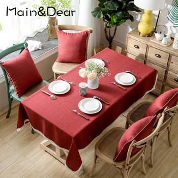Linen Tablecloth Cotton Solid Color Hotel Picnic Table Rectangular Covers Home Dining Tea Decoration Lace Tassel - discount item  40% OFF Home Textile