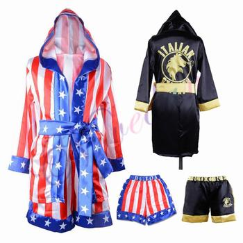 Rocky Balboa Apollo Movie Boxing American Flag Cosplay Costumes Kids Bathrobe Shorts Robe Boxing Costume Set Training Outfit wesing boxing robe soft boxing cloak kick men women boxing dry robe clothing boxing uniforms bata boxeo robe