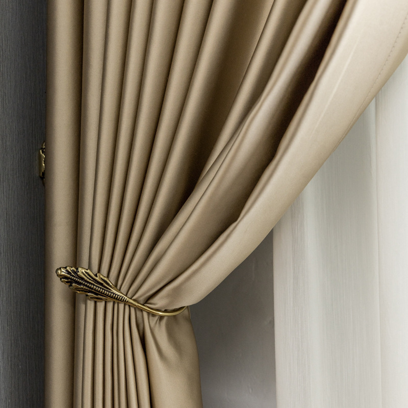 Artificial Silk High-precision Thermal Curtain Fabric Light Luxury Modern Bedroom Finished Curtains for Living Room