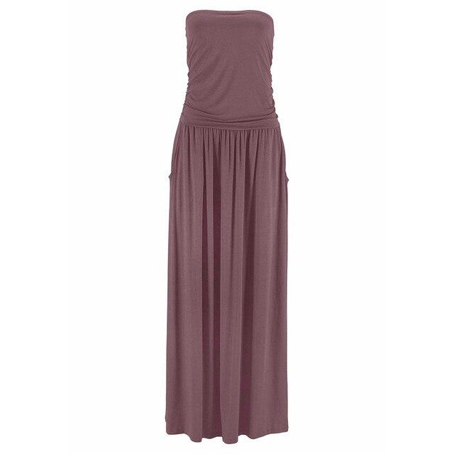 Dress Women's Tube Top Dresses Off Shoulder Long Dresses Ladies Summer Solid Maxi Dress Bandeau Holiday Vestidos Solid Jurken 5