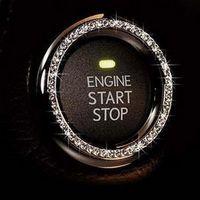 ONEWELL Araba Dekor Kristal Rhinestone Araba Bling Yüzük Amblem Sticker Otomatik Başlangıç Motor Ateşleme Düğme Anahtarı