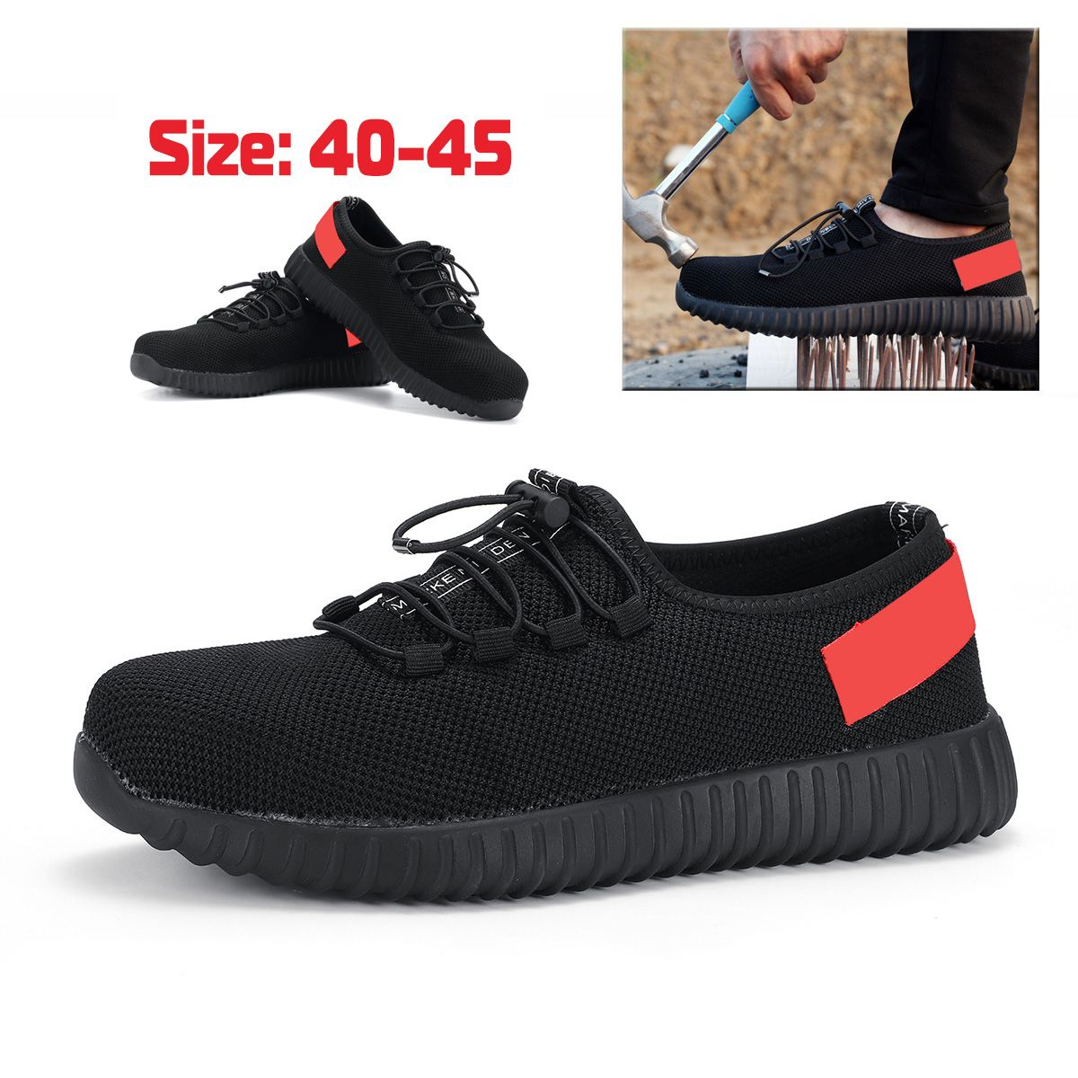 Men's Winter Steel Toe Work Safety Shoes Casual Breathable Outdoor Sneakers Proof Boots Comfortable Industrial Safety Boots