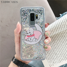 YHBBCASES Cartoon Dumbo Cover For Samsung Galaxy S8 S9 S10 Plus Colorful Glitter Dynamic Liquid Sequin Case Note 8 9