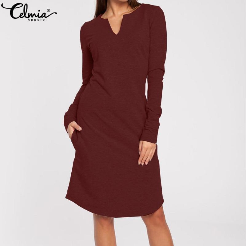 Женское платье-свитер 2020, Осеннее сексуальное трикотажное платье с v-образным вырезом и длинным рукавом, повседневное однотонное Вечернее П...