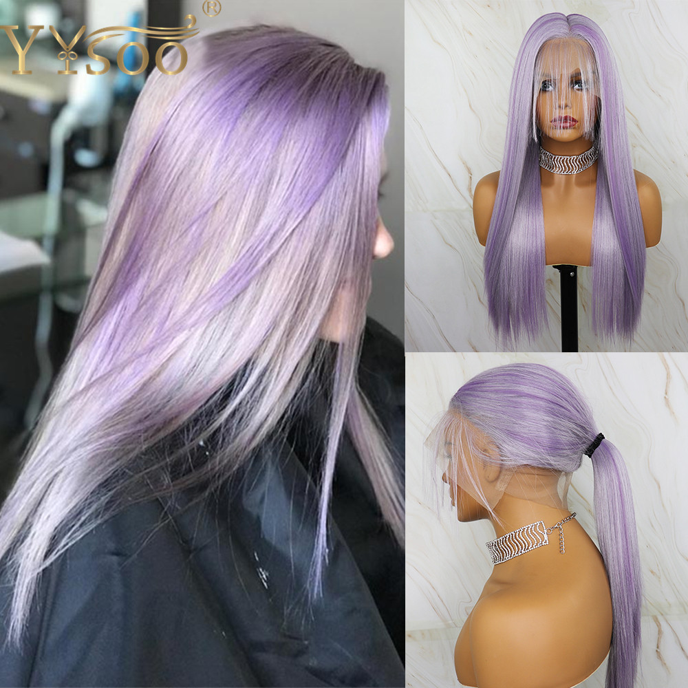 YYsoo Long Purple Highlight Synthetic Full Lace Wigs Japan Futura Synthetic Silky Straight Wig With Baby Hair High Ponytail Wig