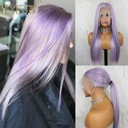 YYsoo pelucas largas púrpuras de encaje sintético completo Japón Futura Peluca de cabello lacio de seda sintética con pelo de bebé Peluca de cola de caballo alta