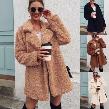 Manteau en fausse fourrure polaire sweats Cardigan 2019 femme automne hiver manteau femmes pardessus en peluche veste Mujer Chaqueta Mujer 1