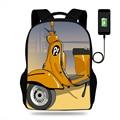 Женские мотоциклетные рюкзаки Vespa школьные рюкзаки для мальчиков сумка-портфель для детей ортопедическая сумка mochila escolar Usb зарядка сумка дл...