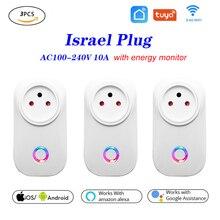 3pcs Tuya WIFI חכם שקע חכם תקע ישראל תקע 10A שלט רחוק Alexa Google בית אנרגיה צג