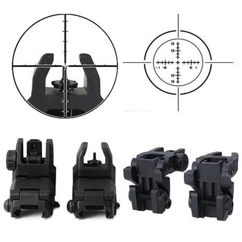 Фото - Tactical Folding Front Rear Sight Flip Up Backup Sights BuiS Set Hunting Accessories folding tactical flip up sight rear front sight mount transition backup iron sight rapid rifle rts for paintball accessories