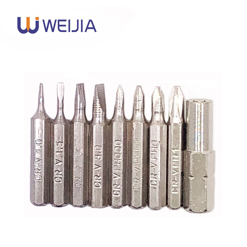 9pcs Slotted  Phillips CR-V Precision Bits Set  Screwdriver Drill Bit Repair Mobile Phone Camera Computer Bit  PH000-1 SL1-3