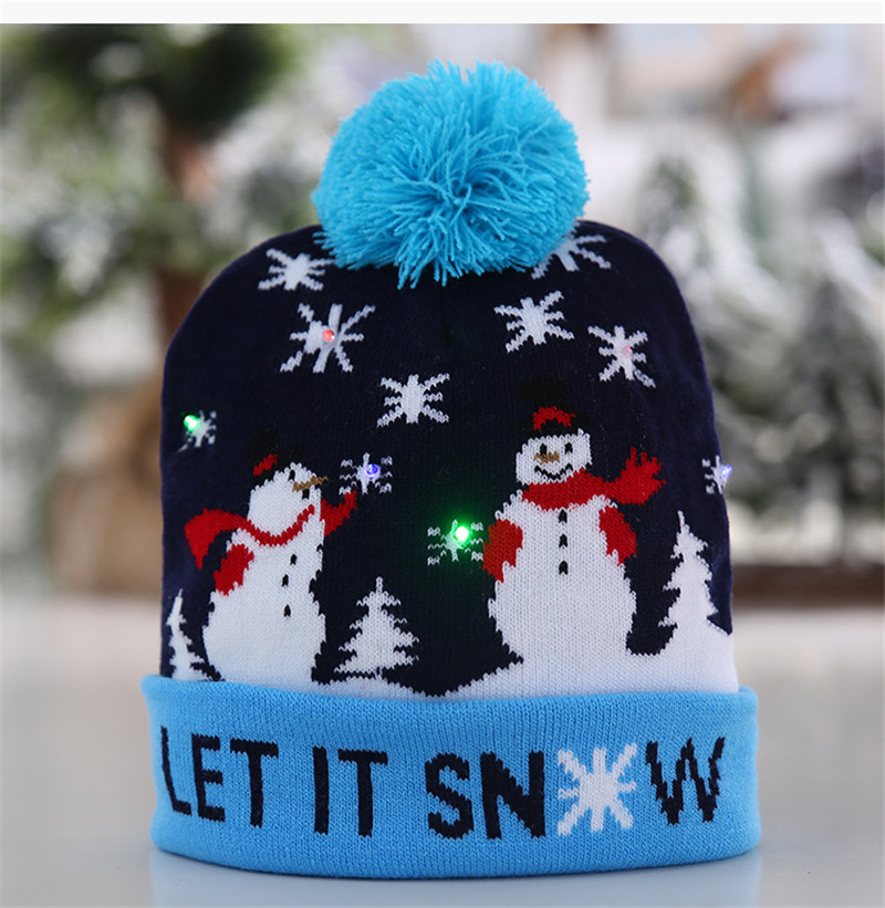 Ha289783abfbb47d99a9f16d241a19ad5F - LED Light Christmas Hats Beanie Sweater knitted Christmas Santa Hat Light Up Knitted Hat for Kid Adult For Christmas Party