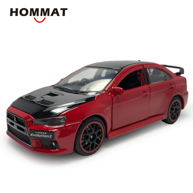 HOMMAT 1:32 Scale Mitsubishi Lancer EVO 10 X With Black Roof Alloy Metal Diecasts & Toy Vehicles Model-Cars Toys For Children
