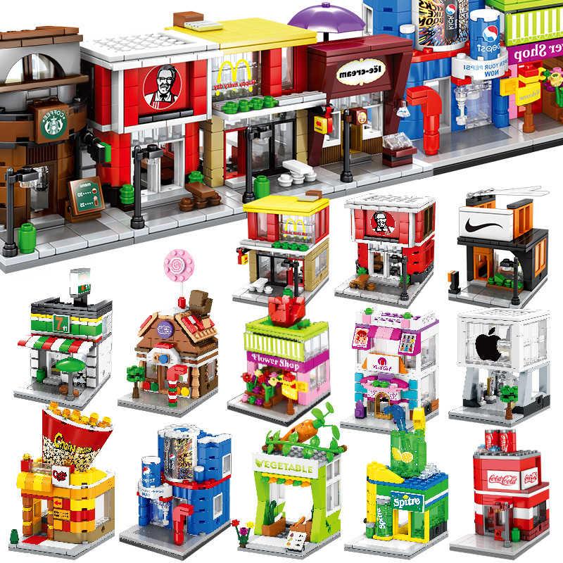 Sembo Stad Blok Street View Serie Snoep Pizza Ijs Fast Food Winkel Boekhandel Bouwstenen Moc Kids Diy Speelgoed