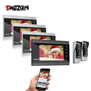 TMEZON 7 Inch Wireless Wifi Smart IP Video Door Phone Intercom System with 4 Night Vision Monitor + 2 Rainproof Doorbell Camera redeagle 7 inch video door phone intercom system 940nm ir night vision doorphone doorbell camera 110 degree wide angle