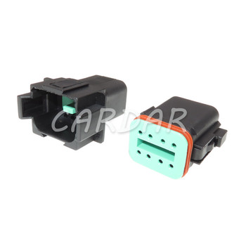 1 Set 8 Pin DT04-8P DT06-8S Black Colour DT Series Automotive Waterproof Deutsch Connector Plug With Terminals image