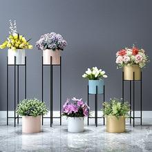 Металлическая подставка для растений в скандинавском стиле для гостиной, Цветочная стойка, роскошная железная комнатная напольная Цветочная стойка, современная простая зеленая Цветочная стойка