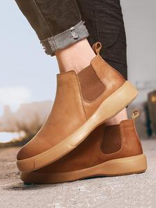 Men Boots Work-Shoes Plush Autumn Outdoor Winter Genuine-Leather Warm Man KATESEN Ankle