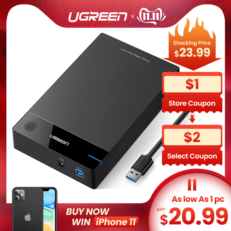 Ugreen HDD Case <font><b>3.5</b></font> 2.5 <font><b>SATA</b></font> to USB 3.0 Adapter External <font><b>Hard</b></font> <font><b>Drive</b></font> <font><b>Enclosure</b></font> Reader for SSD Disk HDD Box Case HD <font><b>3.5</b></font> HDD Case image