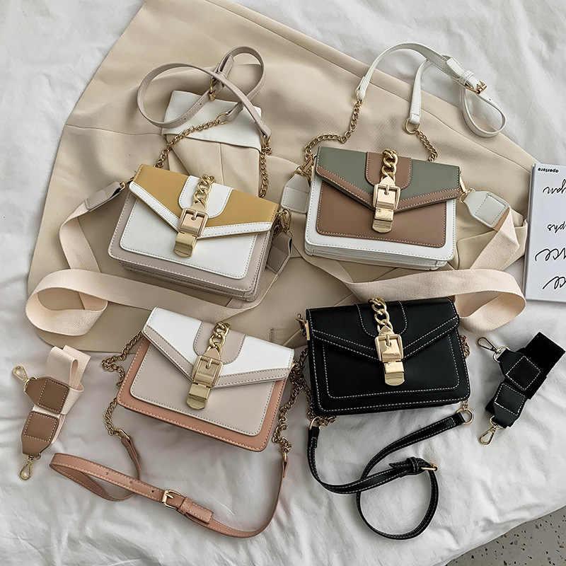 Модная женская сумка через плечо с цепочкой, маленькая квадратная сумка для отдыха, сумка на плечо популярного цвета, сумка-мессенджер с широким ремнем