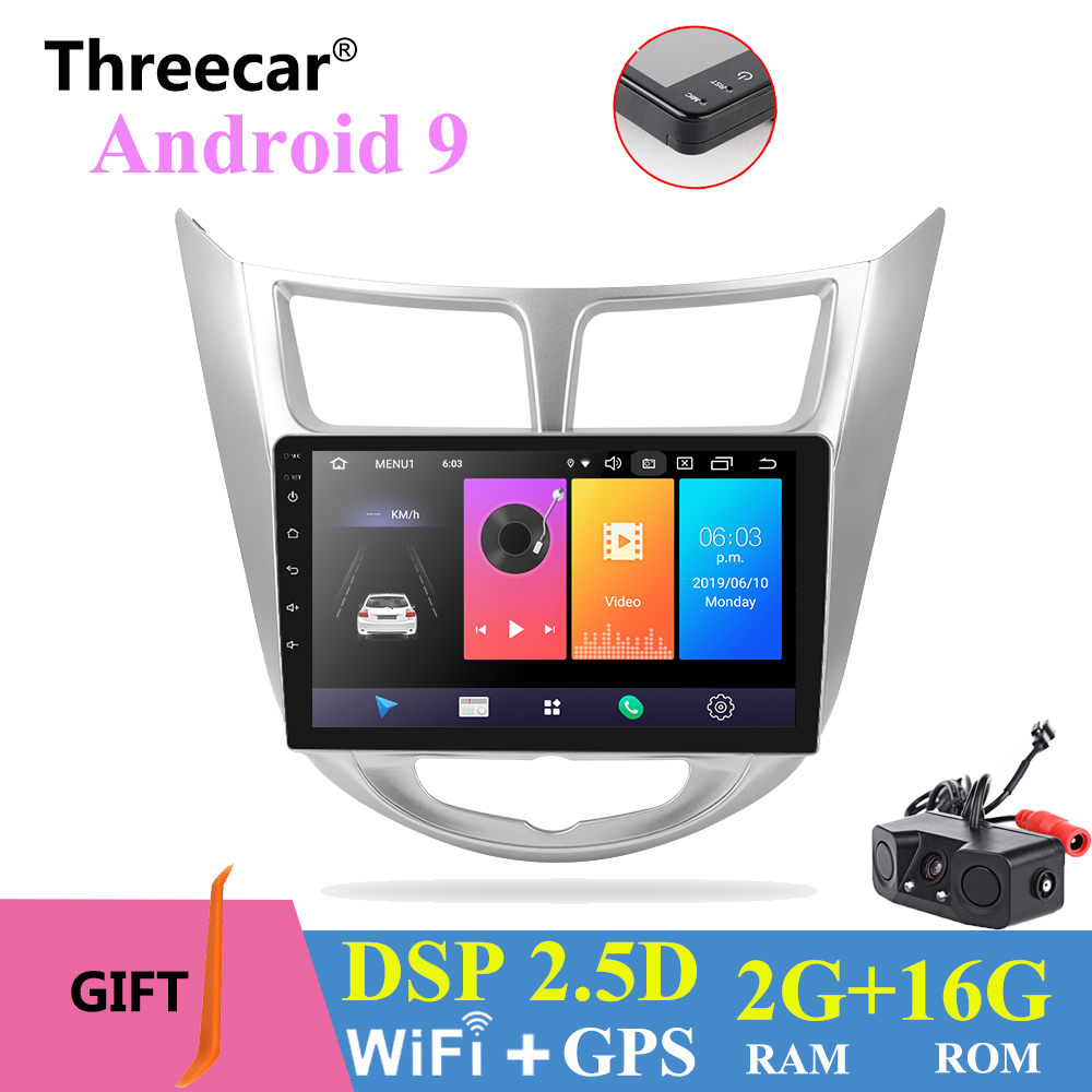 "9 ""Android 9,0 2 din android автомобильное компактное минирадио 2.5D ips экран gps навигация wifi для 2016 2017 Hyundai Solaris Verna мультимедиа"