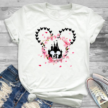 Cute Mouse Ear Print Tshirt White Casual Short Sleeve Loose Tee Shirt Flower Micky Mouse Ladies T Shirt Ropa Mujer Verano 2019