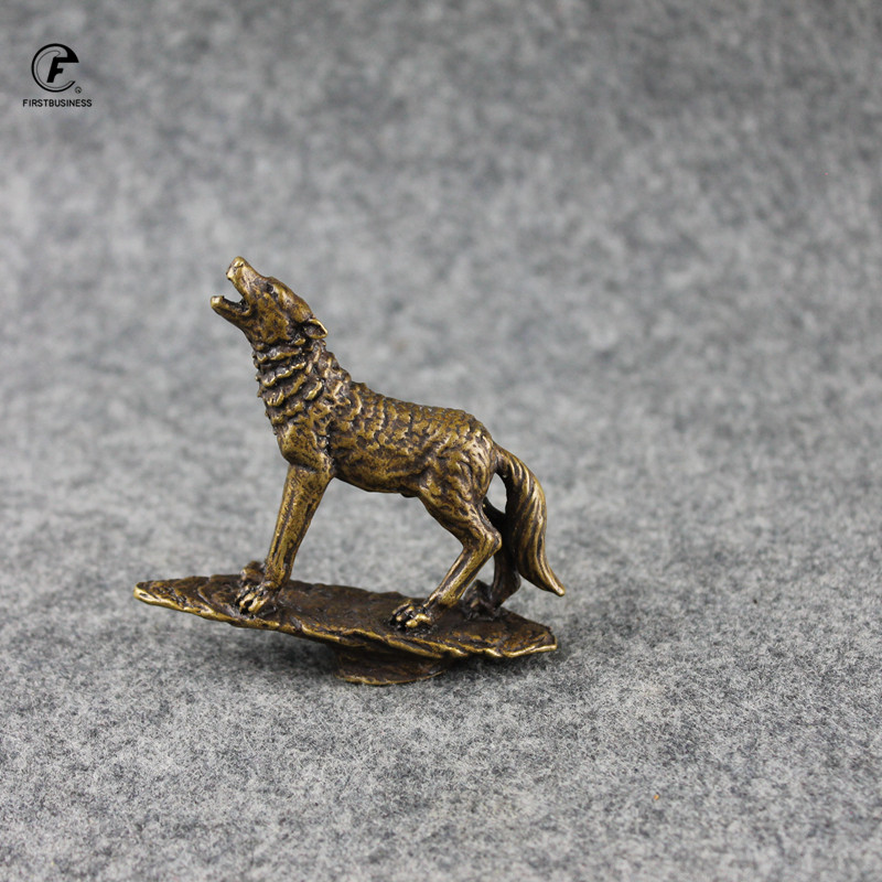 Antique Copper Wolf Miniatures Figurines Tea Tray Accessories Home Decor Retro Brass Animal Tea Cover Decorations