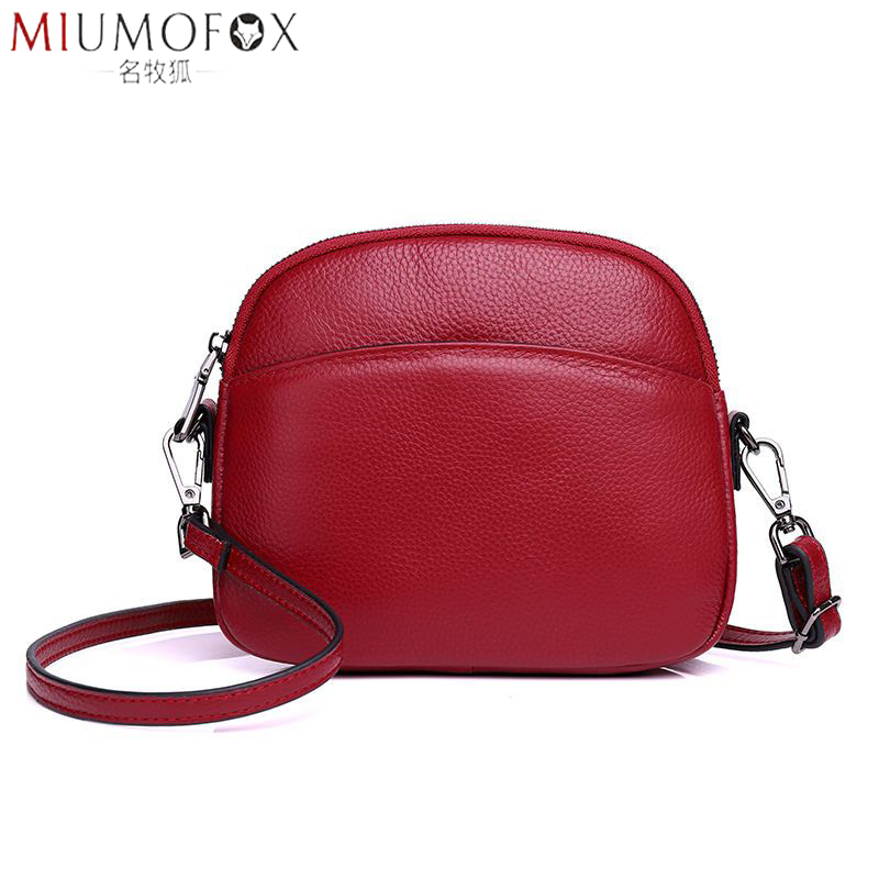 Genuine Leather Cross Body Bag Women Casual Shell Cow Leather Woman's Handbag Girl Ladies Solid Shoulder Messenger Bags Clutch