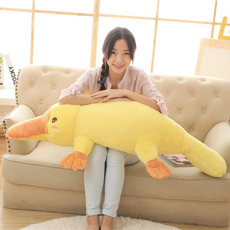 50-120cm Duckbill Duckmole Platypus Lying Plush Toy Yellow Stuffed Animal Pillow Kids Sleeping Companion Toy