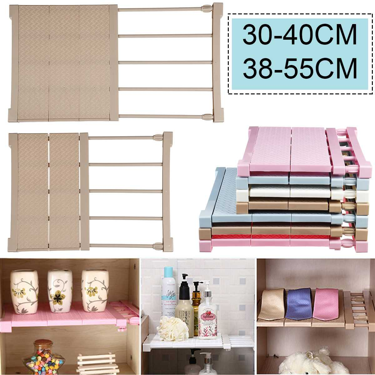 35CM Width Adjustable Closet Organizer Storage Shelf Wall Mounted Kitchen Rack Space Saving Wardrobe Shelves Cabinet Holders