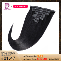 Racily Hair Straight Clip In Human Hair Extensions 8 Pcs/Set Remy Brazilian Clip Ins Hair 120 Gram Natural Color 10 26 Inches