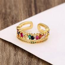 Anéis de ouro feminino cristal arco-íris zircons cobre noivado anel de casamento simples um tamanho ajustável anéis de jóias para mulher