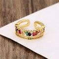 Женское золотое кольцо exquiste, регулируемое Радужное кольцо с фианитами, разноцветное Кристальное медное кольцо, ювелирное изделие, подарок ...