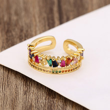 Anel de arco-íris ajustável, anel feminino multicolorido de cristal, cobre, presentes para mulheres