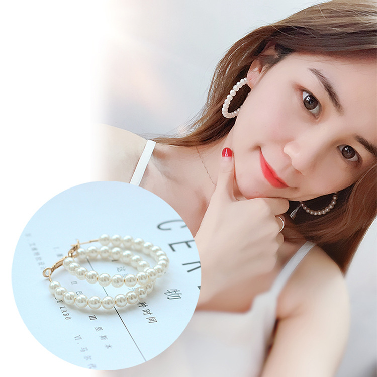 Europe and the United States 2019 new hot sale geometric round exaggerated pearl pendant earrings women earrings fashion jewelry 1