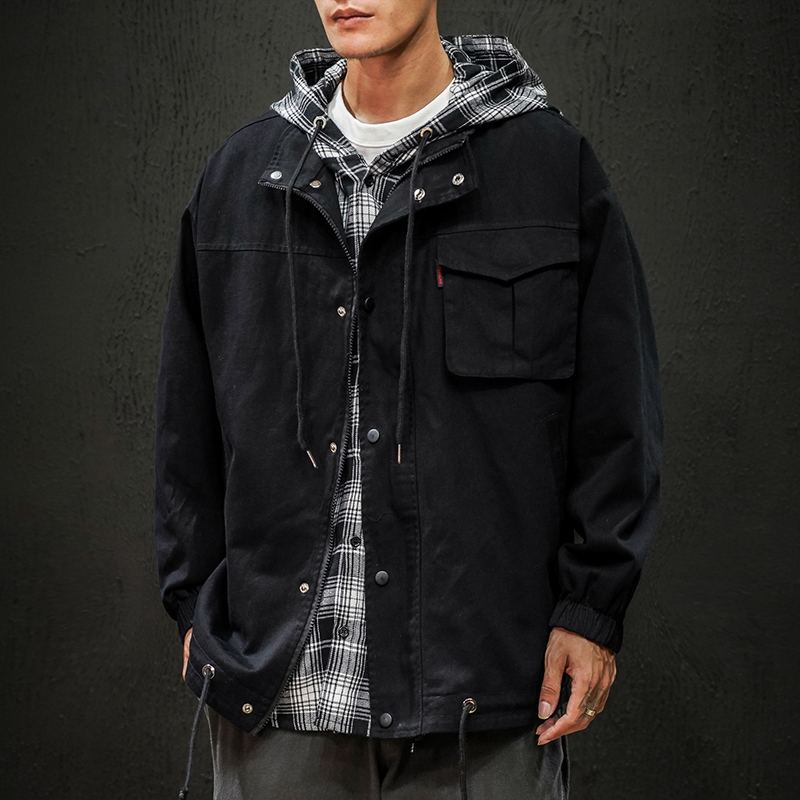 New mens jacket autumn personality trend handsome fashion youth clothes casual hooded new