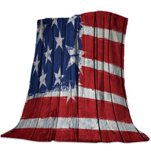 Stars Stripes Flag Wood Grain Flag Bedspread Coverlet Flannel Blanket Cover Wrap Wrinkle-Resistant Lightweight Breathable Cozy(China)