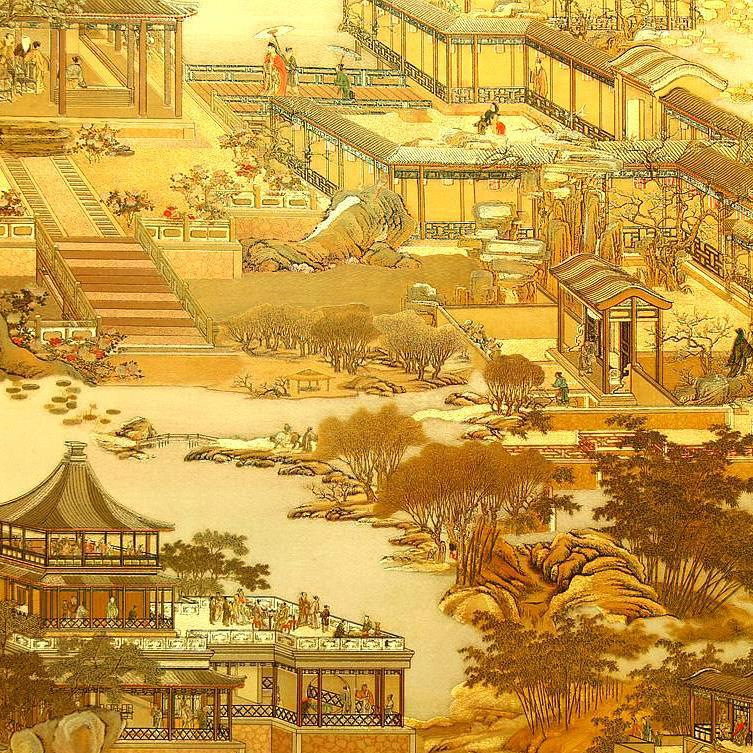 Qingming Painting Wallpaper Gold Foil Gold Aureus Hotel Restaurant Chinese Style Shop Storefront Decoration Wallpaper