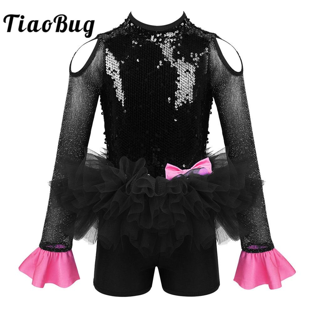 TiaoBug Kids Girls Long Sleeve Sequins Gymnastics Leotard Jumpsuit Tutu Ballet Dress Modern Jazz Stage Performance Dance Costume